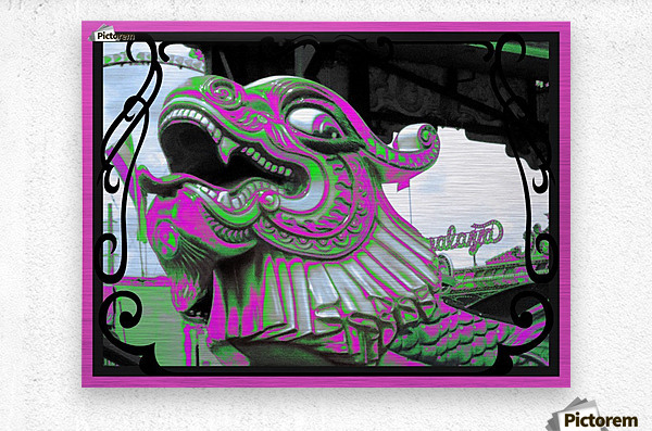 Carnival Creature in Purple & Green  Metal print
