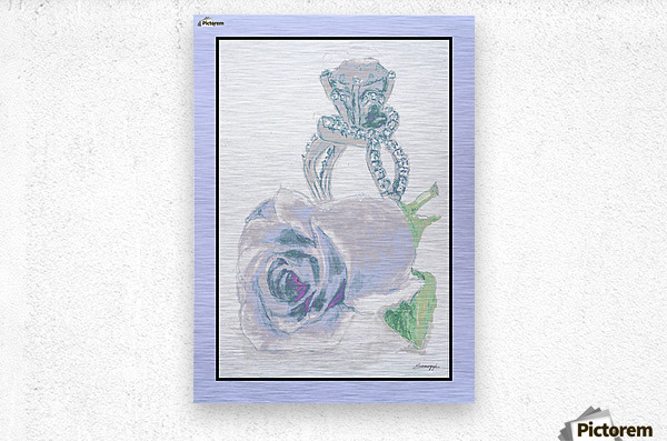 Blue Bud in Frame  Metal print