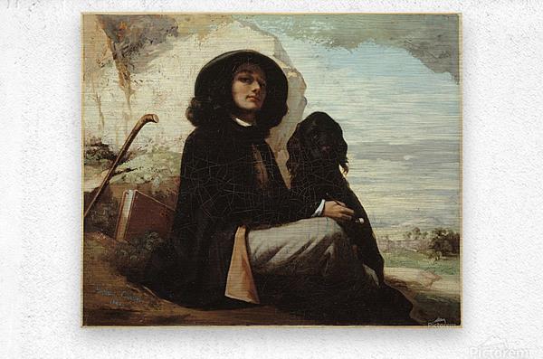 Autoportrait dit Courbet au chien noir  Impression metal