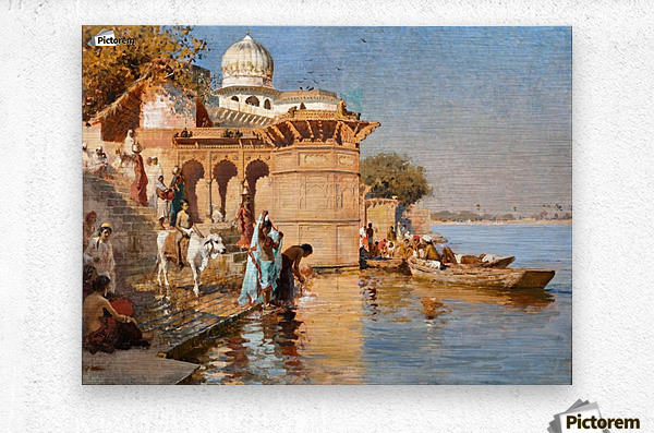 Along the Ghats, Mathura  Metal print