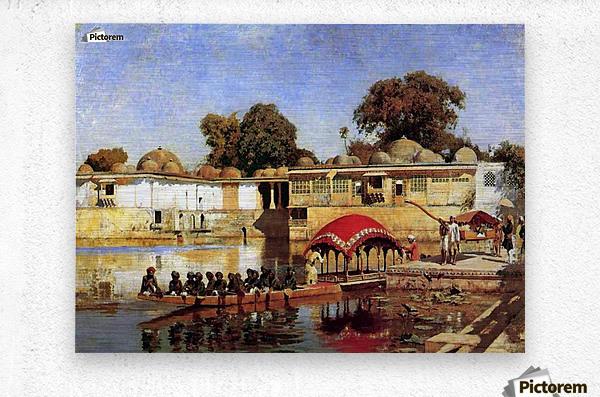 Palace and Lake at Sarket-Ahmedabad, India  Metal print