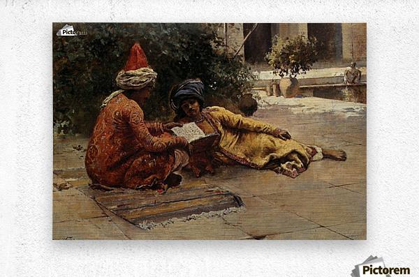 Two Arabs Reading  Metal print