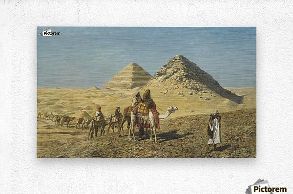 Caravan and pyramids  Metal print