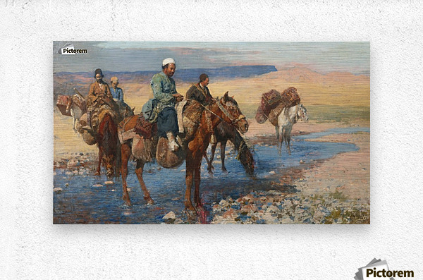 Horses at the Ford-Persia  Metal print