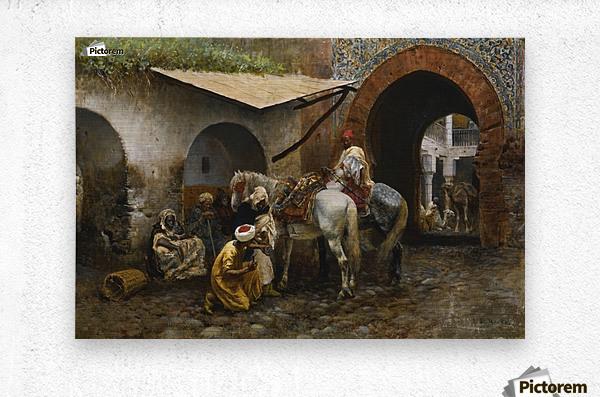 Horse care in oriental market  Metal print