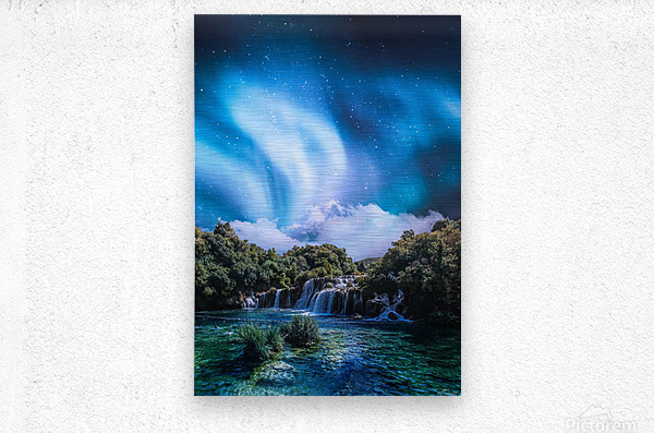 Aurora Polaris Over The Waterfall  Metal print