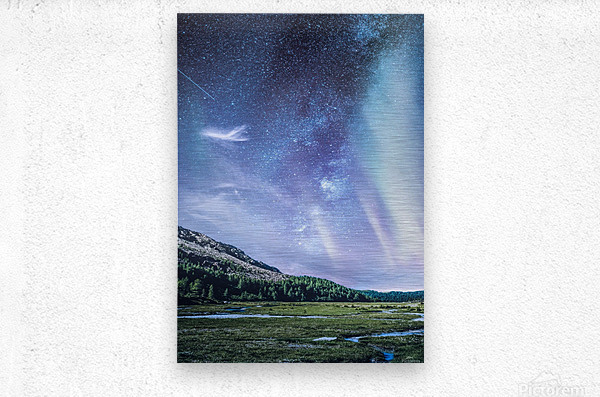 Milky Way And Aurora Polaris At Night  Metal print