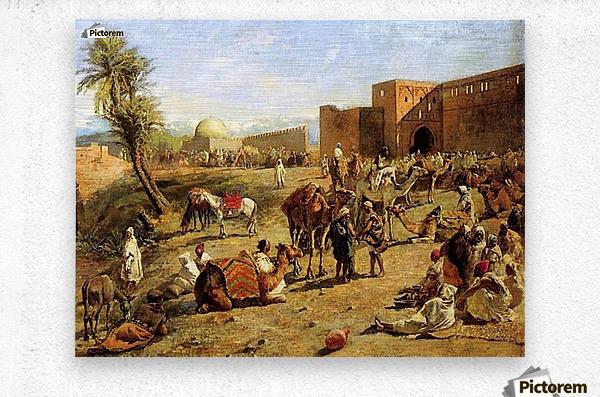 Arrival of a caravan outside the city of Morocco  Metal print