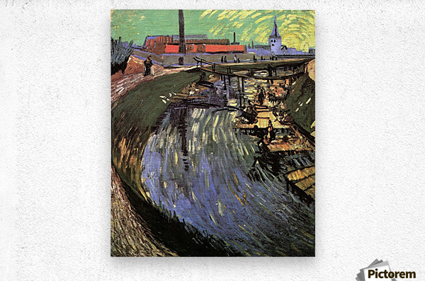 Canal with Women Washing by Van Gogh  Metal print
