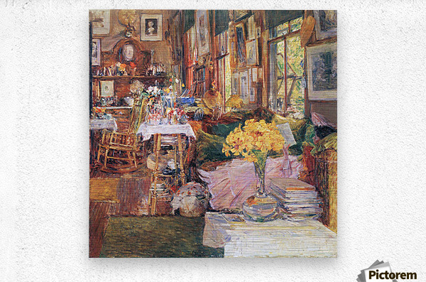 The room of flowers by Hassam  Metal print