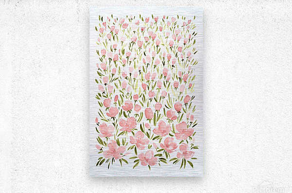 Field of pink watercolor flowers by blursbyai  Metal print