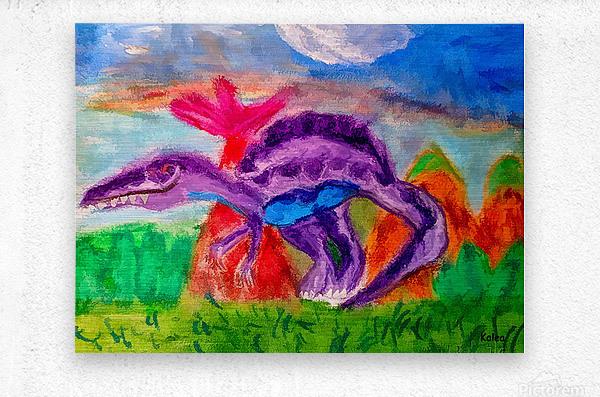 Dinosaur drawn by 5 year old  Metal print