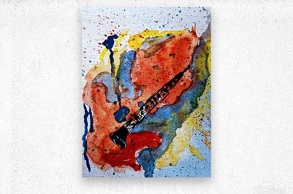 Clarinet watercolor  Metal print
