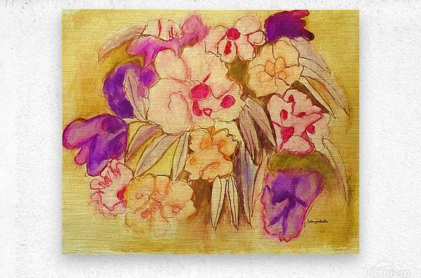 Floral pansies  Metal print