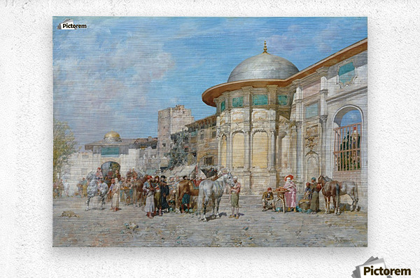 Horse market, Syria  Metal print