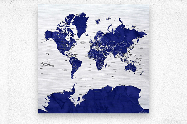 Navy blue watercolor world map with countries and states labelled  Metal print