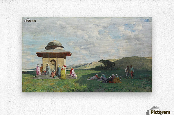 Landscape with people and small mosque  Metal print