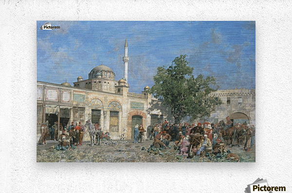 The market of Constantinople  Metal print