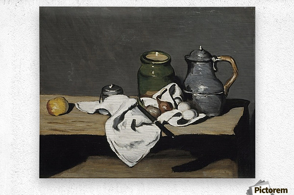 Cezanne - Still life with kettle  Metal print