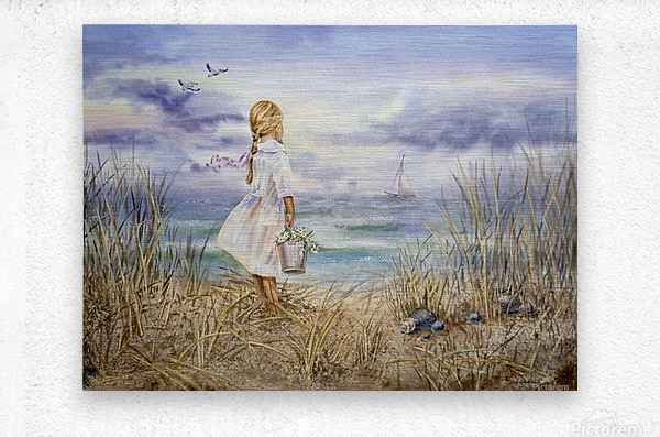 Girl Standing At The Ocean Watching Sailboat and Birds  Metal print