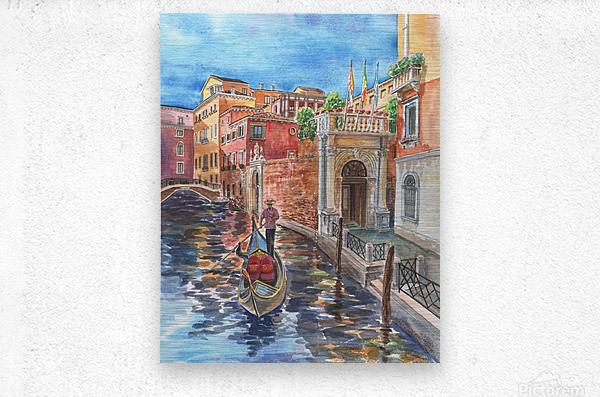 Venice Canal And Gondolier Italian City Landscape   Metal print