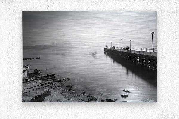 Foggy evening at the port of Balchik  Metal print