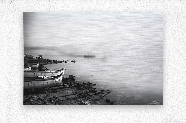 Foggy fishing port  Metal print