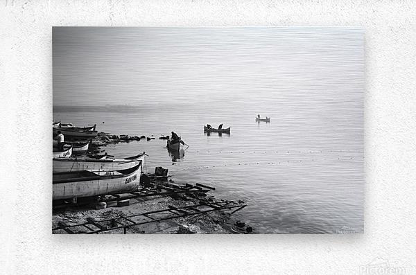 Fishing boats at the foggy port of Balchik  Metal print