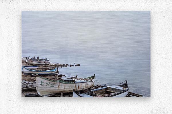 Fishing boats in fog  Metal print