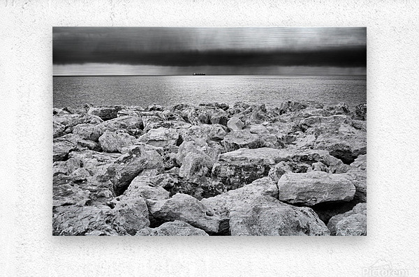 Stormy weather at the beach  Metal print