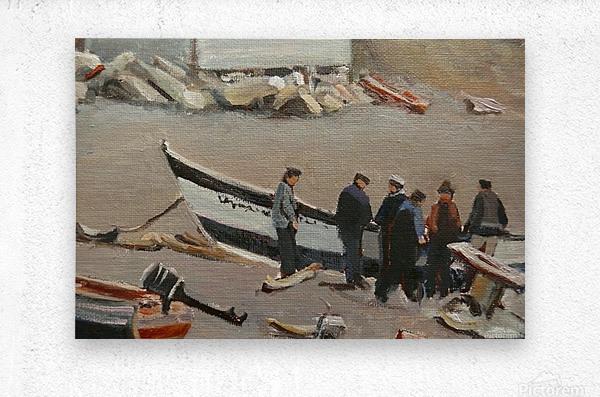 Fixing the Boat Gaspe  Metal print
