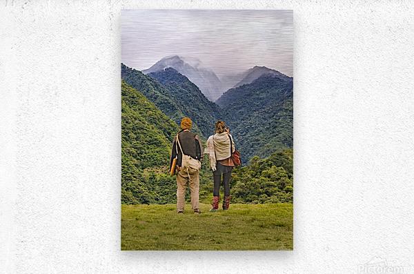 Young Backpackers at Top of Mountain, Banos, Ecuador  Metal print