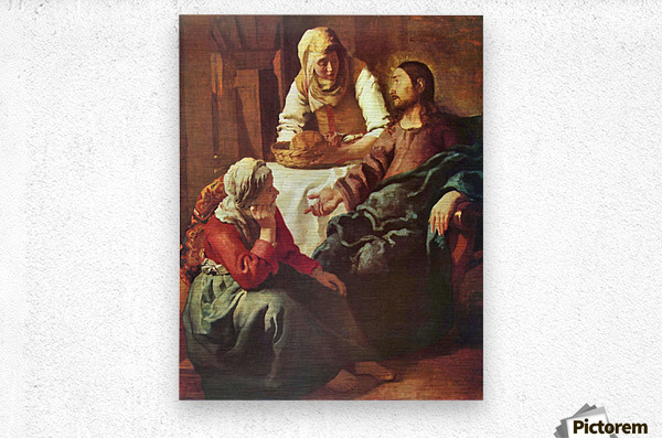 Christ with Mary and Martha by Vermeer  Metal print