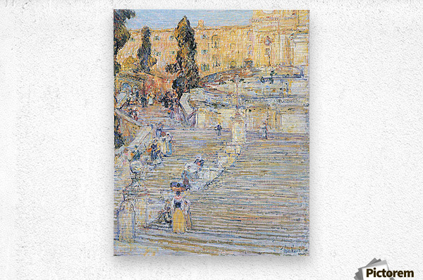 The Spanish steps by Hassam  Metal print
