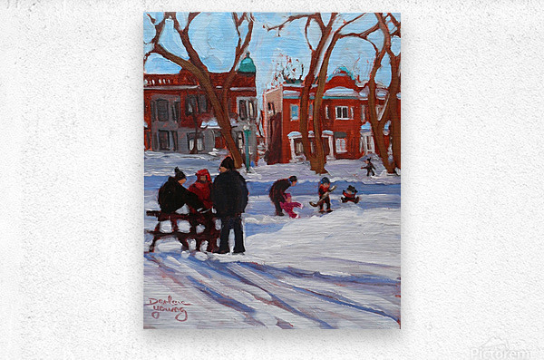 Learning to Skate at Outremont Park.  Metal print