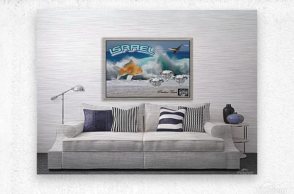 monogram art   israel ocean 1 FOR DSPLAY ONLY in room setting  Metal print