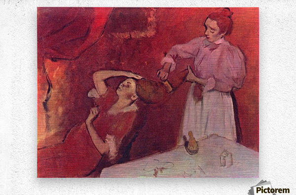 Combing hair by Degas  Metal print