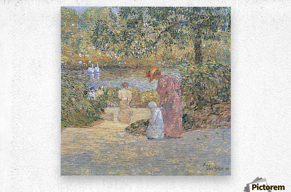 The staircase at Central Park by Hassam  Metal print