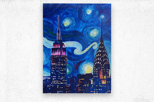Starry Night in New York Van Gogh Manhattan Chrysler Building and Empire State Building  Metal print