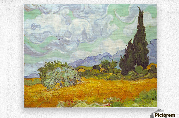 Cornfield with Cyprusses by Van Gogh  Metal print