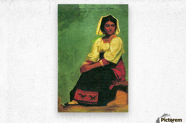 Costume study of a seated woman by Bierstadt  Metal print
