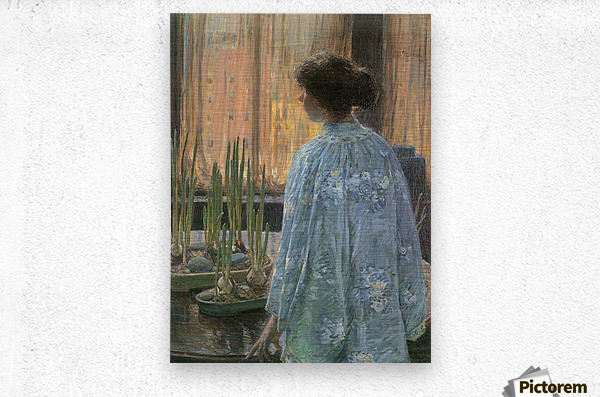 The table garden by Hassam  Metal print