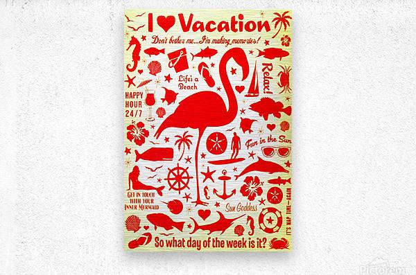 Vintage Travel - I Love Vacations  Metal print