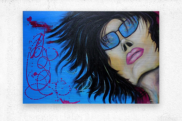 La femme a lunette sous le ciel Bleu  Metal print
