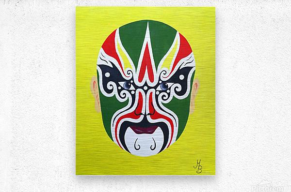 Cheng Yaojin - Chinese Opera Mask  Metal print