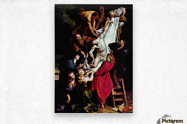 Cross, Triptych, Middle panel of Crucifixion by Rubens  Metal print