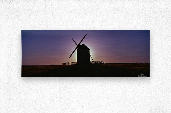 Windmill against the sunset north west France.  Metal print
