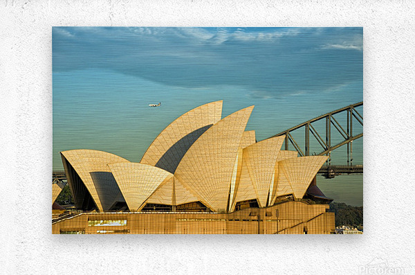 First plane of the morning Sydney Opera House  Metal print