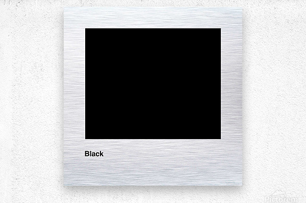 Solid Black process color with word  Metal print