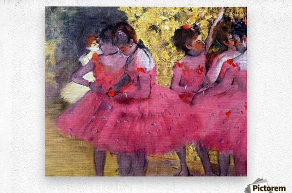 Dancers in pink between the scenes by Degas  Metal print